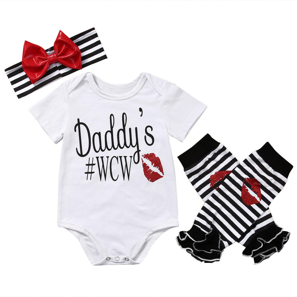 1b44e8904 3Pc Newborn Baby Girl kids clothing sets suit Daddy Romper Jumpsuit  Headband Outfit C