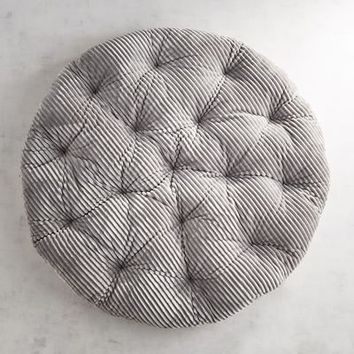 Gray Plush Stripe Papasan Cushion