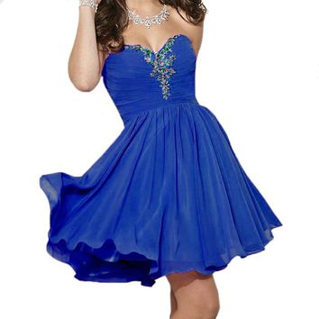 Fashion Plaza Sweetheart Strapless A-line Short Chiffon Homecoming Dress D0363 (US6, Royal Blue)
