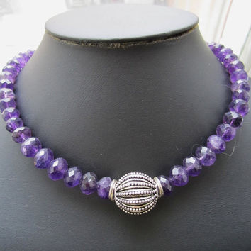 Purple Faceted Amethyst Necklace with Balisilver Ball