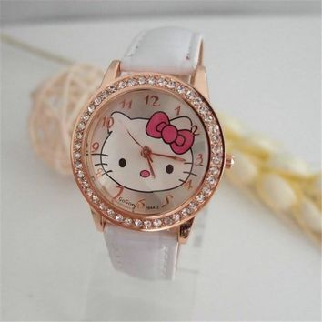 Hot sales Fashion cute hello kitty Watch children girls women crystal dress Quartz wristwatch kt020