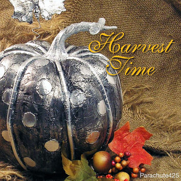 SILVER POLKA DOT PUMPKIN, unique Fall Decor