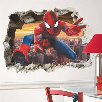 Children's Hero Spiderman Wall Stickers For Kids Rooms Wall Decals Home Decor Kids Nursery 3D Broken Wall Decals Boy Gift