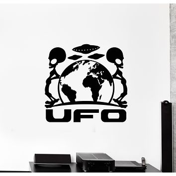 Vinyl Wall Decal Alien Space UFO Earth Planet Flying Saucers Stickers Mural (g1449)