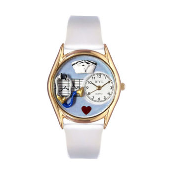 Whimsical Watches Healthcare Nurse Appreciation Gift Accessories Blue White Leather And Goldtone Watch