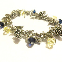 Beautiful Pine Cone Charm Bracelet Made With Swarovski Crystals, Bridal Jewelry