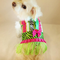 RockinDogs Lime & Hot Pink Animal Print Fringed Dog Harness