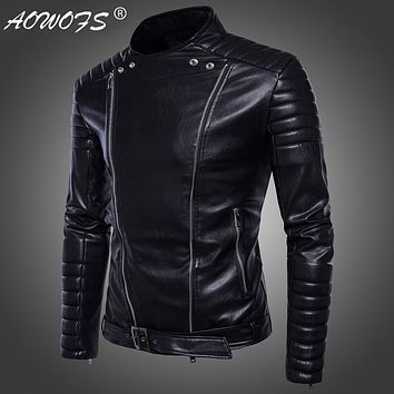JACKET Men's high-end motorcycle leather jackets men's clothing Punk leather style