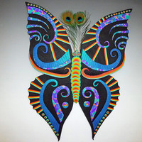 Cosmic Butterfly Large Unique Clock or Wall Art 3D in Rainbow Polymer Clay