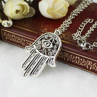 Good Luck Protection Hamsa Symbol Fatima Hand Evil Eye Pendant Chain Necklace = 1946464324