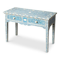Olivia Traditional Rectangular Bone Inlay Console Table Blue
