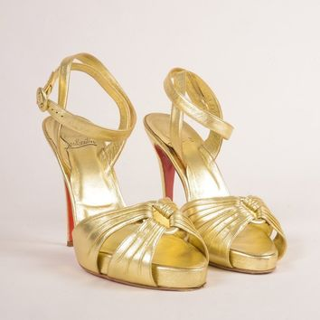 CREYU2C Gold Metallic Ankle Wrap Tenue High Heel Sandals