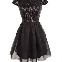 Capsleeve Mini Sequin and Tulle Dress