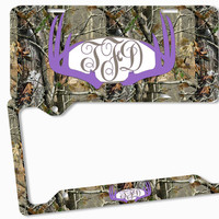 Purple Brown Camo Antlers Monogram License Plate Frame Metal Car Tags Personalized