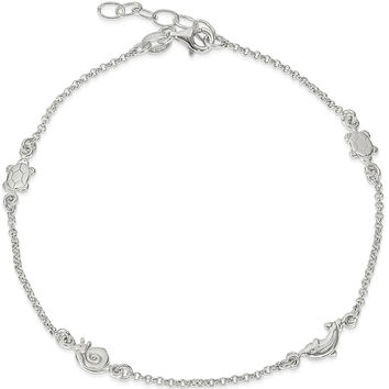 925 Sterling Silver Small Sea Shore Creatures Ankle Bracelet