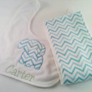 Baby BIB and Burp Cloths- Personalized and Embroidered -  Chevron Bib, Chevron Burp Cloths, Applique Bib, Baby Bib, Personalized Baby Bib