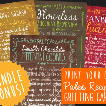Bundle Paleo Christmas Recipe Greeting Cards - Printable Print Your Own Digital PDF Healthy Hanukkah Holiday Cards - Perfect for Crossfit