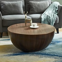 Walnut Bowl Round Drum with Storage Coffee Table