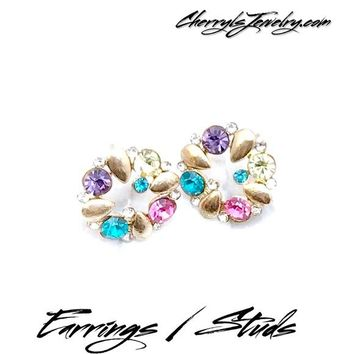 Gold Multicolor Rhinestone Button Earrings