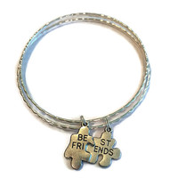 Best Friend Charm Bracelets - Best Friend Puzzle Piece Charm Bangles - Alex and Ani Inspired - Best Friend Jewelry - BFF Bangles - BFF Gift