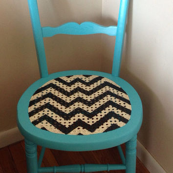 Chevron Vintage Cane Side Chair