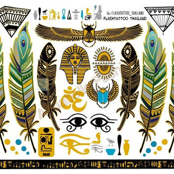 A6080-001 Big Gold Golden tatuagem Taty Body Art Temporary Tattoo Stickers Egypt Style Feather Vintage Glitter Tatoo Sticker