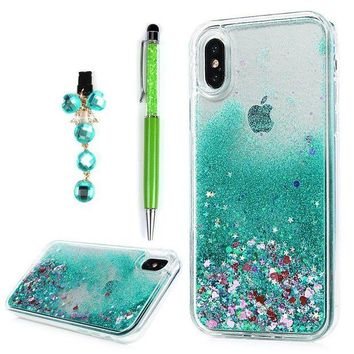 VONW3Q iPhone X Case, YOKIRIN Quicksand Hybrid Case TPU Soft Frame & PC Plastic Back 3D Star Glitters Flowing Liquid Floating Bling Skin Protective Cover for iPhone X with Dust Plug & Crystal Pen, Green