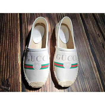 GUCCI Fashion New Letter Stripe Print Weave Shoes Women Lazy Shoes