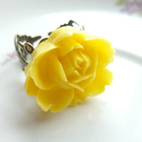 FLOWER ring yellow ring rose flower on adjustable filigree vintage base