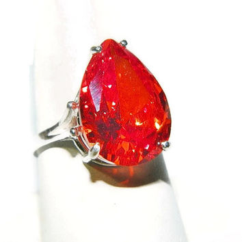 Padparadscha Sapphire Ring, Ring With Big Stone, Ring With Orange Stone, Pear Cut Ring Sterling Silver