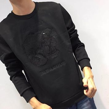 Gucci Fashion Casual Logo Pattern Embroidery Plus Velvet Top Sweater Pullover