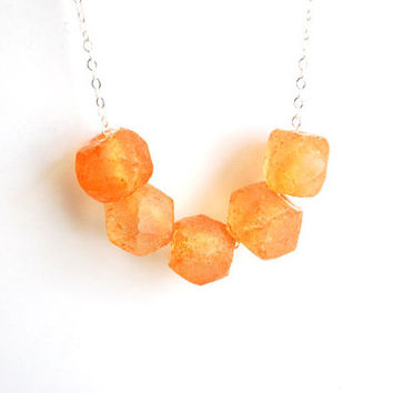 Orange Glass Necklace. Matte Glass Necklace Sterling Silver Chain