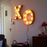 "XO Black Iron Rustic Finish Sign 18"" Tall Letters Light Fixture"
