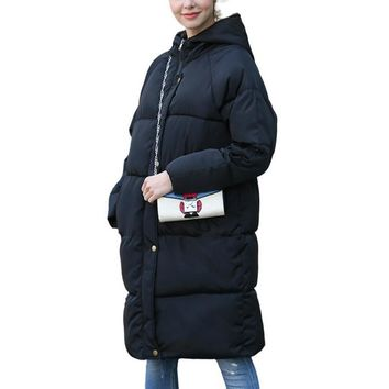 STYLEDOME  Puffer Hooded Parka In Midi Length Women Winter Solid Color Windbreaker Cotton Padded Long Jacket with Hat