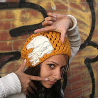 Gold Slouchy Beanie Hat with Cream Elephant - Customize Crochet Hat - hand crocheted hat - women's hat - autumn accessories