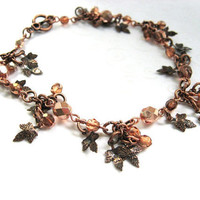 Autumn Leaf Bracelet, Antique Copper Charm Bracelet with Maple Leaves and Apricot Czech Beads, Fall Fashion Jewelry