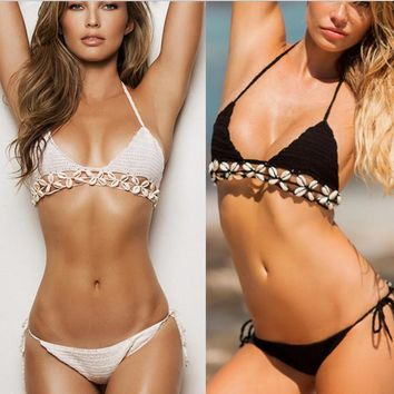 Women Sexy Knit Bikini Spring Summer Solid Swimsuits Push Up
