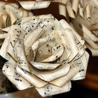 Paper flowers made from vintage sheet music -4 inch-