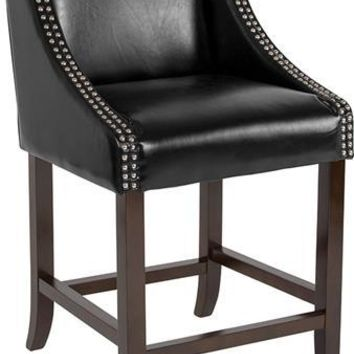 "Carmel Series 24"" High Transitional Walnut Counter Height Stool with Accent Nail Trim in Black Leather"