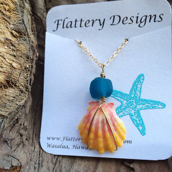 Sunrise Shell and Glass Bead Necklace