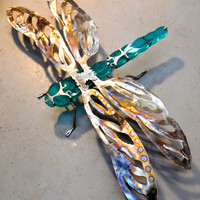 Stained Glass and Stainless Steel DragonFly Sculpture, Lawn Art, Hanging Art, Outdoor Metal Sculpture, Garden Art