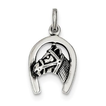 Sterling Silver Antiqued Bridled Horse Head and Horseshoe Charm