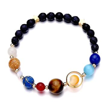 Outer Space Galaxy Solar System Planets Star Bracelets Men Women Gift Ideas