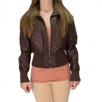 Brown Bomber Jacket - Outerwear