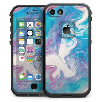Marbleized Blue Paradise V45 - iPhone 7 LifeProof Fre Case Skin Kit