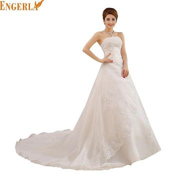New Summer Style Wedding Bride Long Tail Bra Straps Lace Wedding Dress Vestidos De Casamento Bridal Dresses
