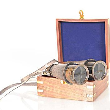 Binocular w leather overlay in wood box Hancrafted Binoculars