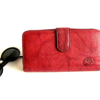 Vintage Buxton Wallet red marbled leather, credit card holder, checkbook cover, ID billfold, organizer, Hipster clutch, change purse,