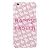 Happy Easter White Bunny Pattern on Pink Matte iPhone 6 Plus Case