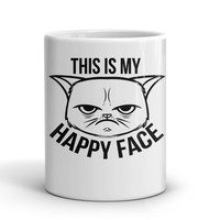 Black And White This Is My Happy Face Mug For Coffee & Tea